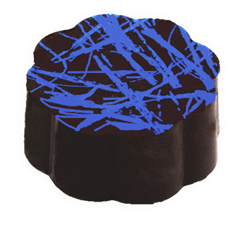58% Dark Chocolate Shell filled with Blueberry Dark Chocolate Ganache.