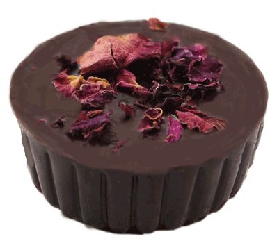 58% Dark Chocolate Shell filled with Rose Water Dark Chocolate Ganache and whole Roasted Pistachio..