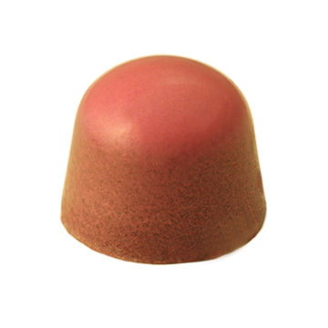 Peach Painted Milk Chocolate Dome filled with Peach Dark Chocolate Ganache.