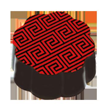 Dark Chocolate Shell filled with Tart Pomegranate Dark Chocolate Ganache.