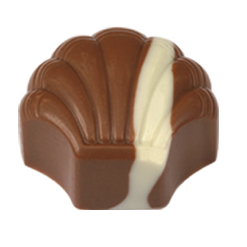 Milk Chocolate Shell Filled with Madagascar Vanilla White Chocolate Ganache.